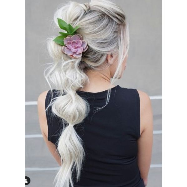 Ultra-messy Bubble ponytail Hairstyle For Blonde Hair With Succulent Hair