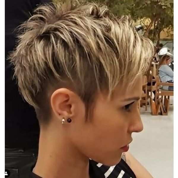 Uneven Pixie Haircut With Razored Sides