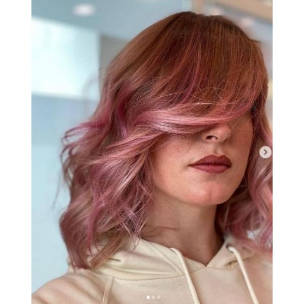 Wavy Feathered Pink Lob Cut With Side-swept Bangs For Thin Hair