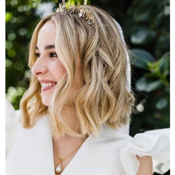 Wavy Wedding Hairstyle With Head Crown