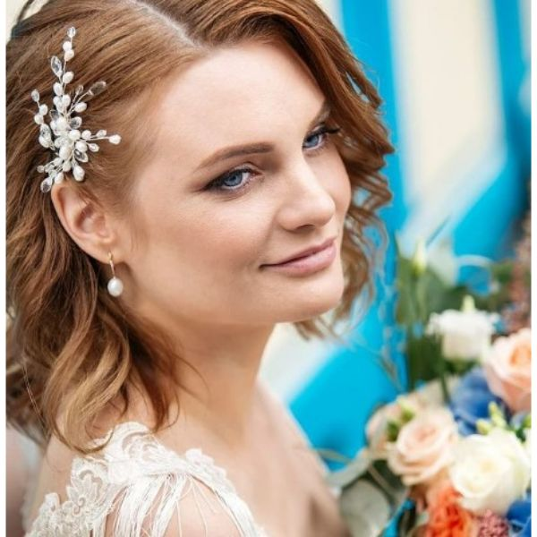 Wavy Wedding Hairstyles For Red Medium Hair With Flower Pin
