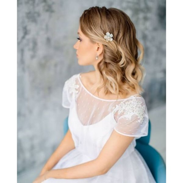 Wedding Hairstyles For Soft Waves With Flower Pin