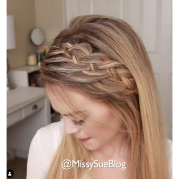 Woven Headband Braid For Straigh Blonde Thin Hair