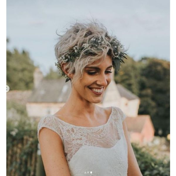 Ashy Blonde Messy Pixie With Floral Headband