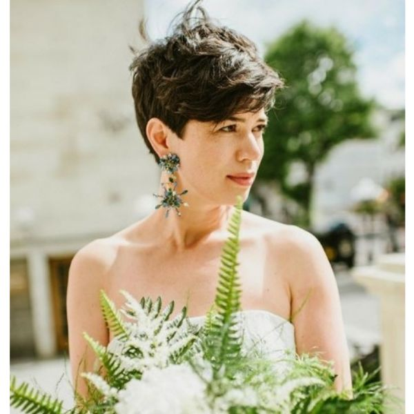 Cropped Cut Wedding Hairstyle For Short Hair