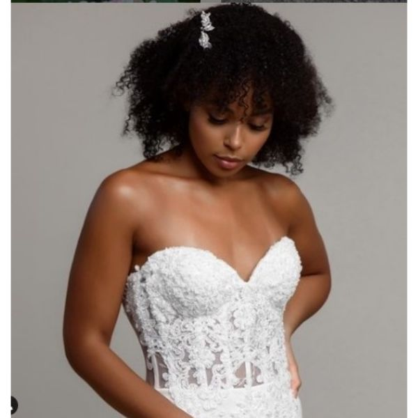 Curly Afro Wedding Hairstyle For Short Hair With White Hair Pins