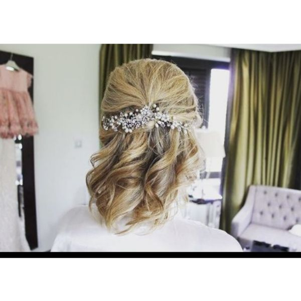 Curly Hair Updo With Hair Piece