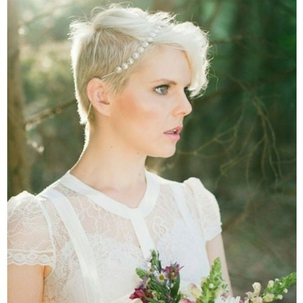 Ice Blonde Pixie With Pearls Wedding Hairstyles