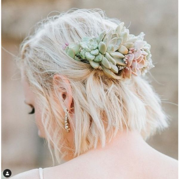 Messy Half Updo With Succulent Flower Accessory