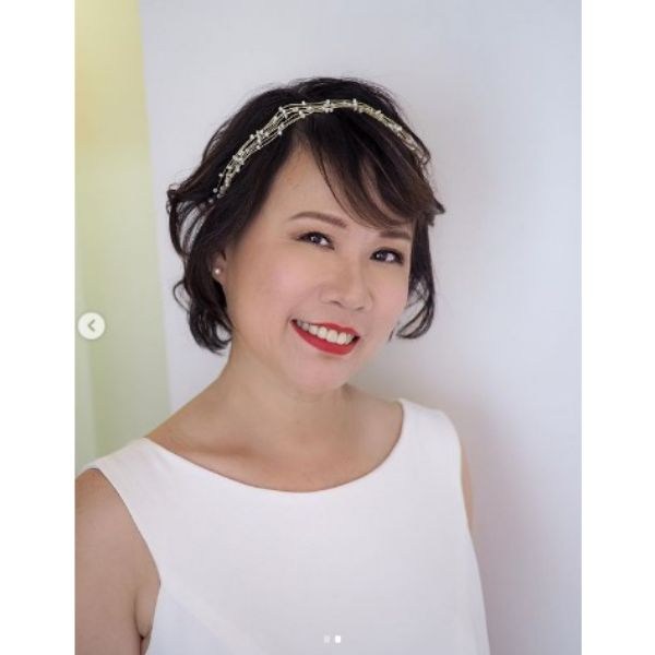 Messy Pixie With Thin Headband Wedding Hairstyle