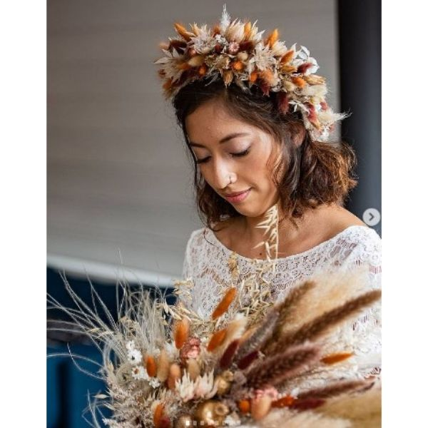 Messy Wedding Hairstyles For Brunette Short Hair With Boho Flower Crown