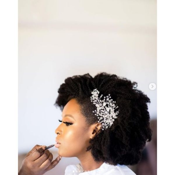 Short Afro With Headpiece Wedding Hairstyles