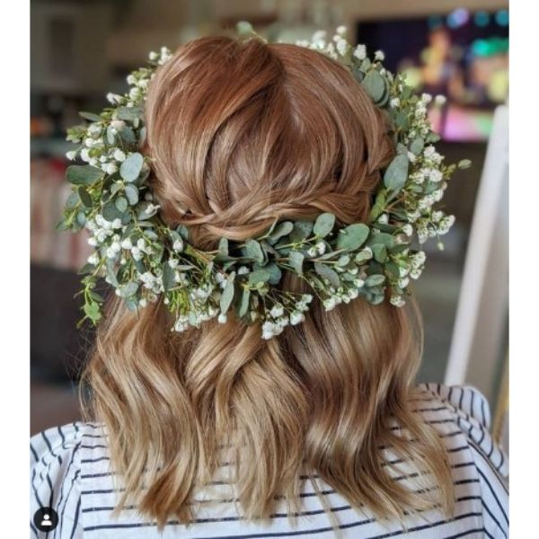 Short Bridal Updo With Braid And Flower Crown
