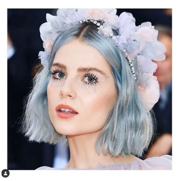 Short Ice Blue Wedding Hairstyle With Floral Headband