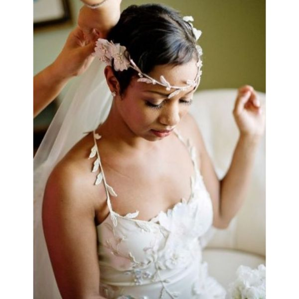 Short Natural Pixie With Floral Headpiece Wedding Hairstyle