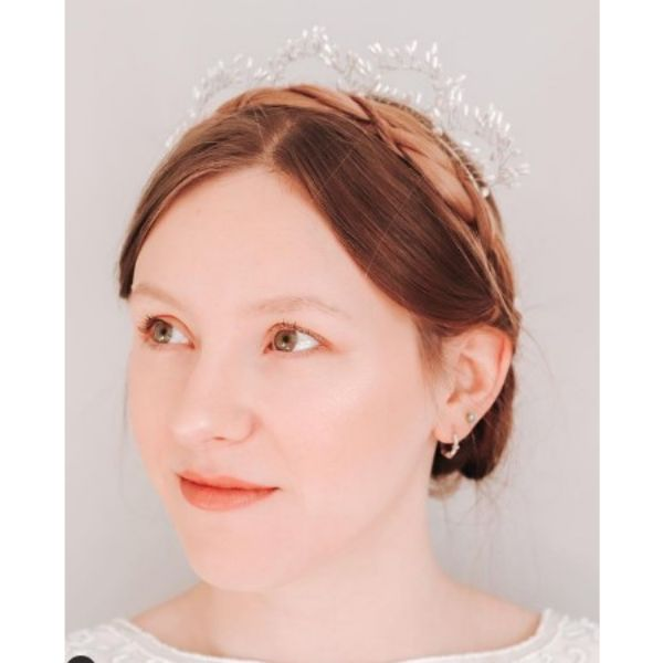 Short Red Hairstyle With Plaited Crown For Short Hair With Headband