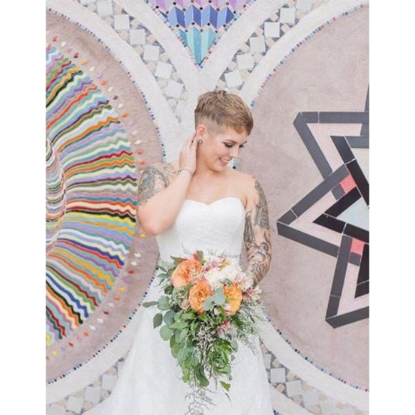 Short Undercut With Messy Top Wedding Hairstyle
