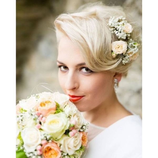 Soft Blonde Pixie With Side Flower Band
