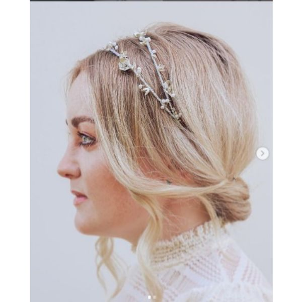 Subtle Twisted Updo With Flower Headband