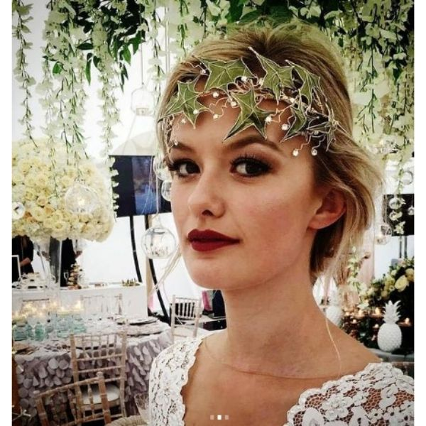Wedding Hairstyle For Short Hair With Ivy Leaves Hair Piece