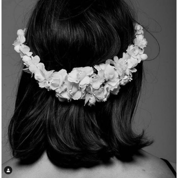 Wedding Hairstyle For Short Straight Hair With Silk Flower Crown