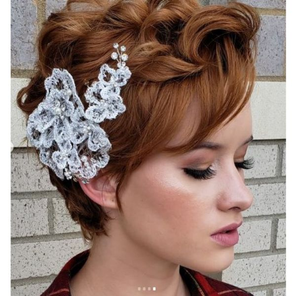 Wedding Hairstyles For Short Red Hair With Curls And Headpiece
