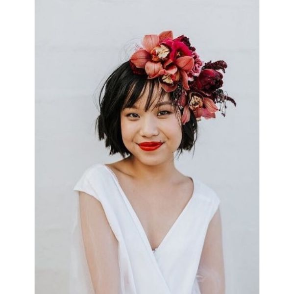Wedding Hairstyles With Short Chopped Bob Hairstyle And Flower Crown