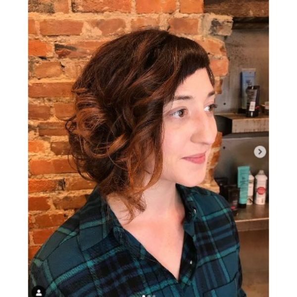 Asymmetric Curly Bob With Autumn Colors