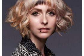 Blonde Curly Bob With Brown Honey Rounded Bangs
