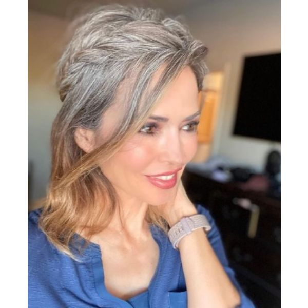 Braided Crown Updo With Falling Strands Medium Hairstyles For Older Women