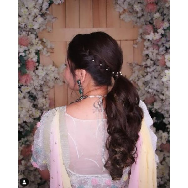 Braided Ponytail With Pearls Pins Hairstyles For Black Hair