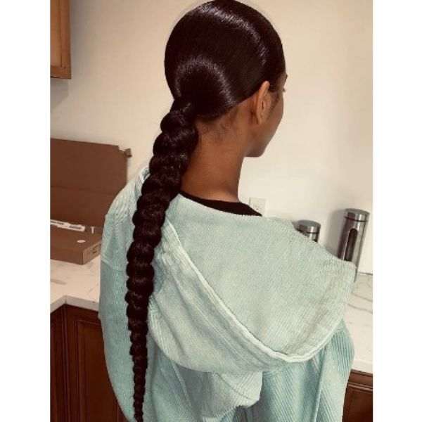 Braided Ponytail With Shiny Sleek Top Hairstyle