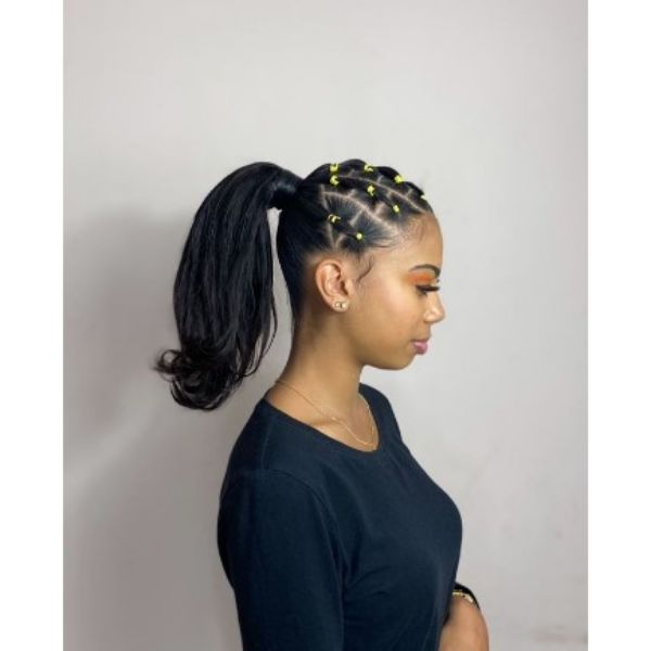 Braided Ponytail With Yellow Rubber Bands Hairstyles For Black Hair