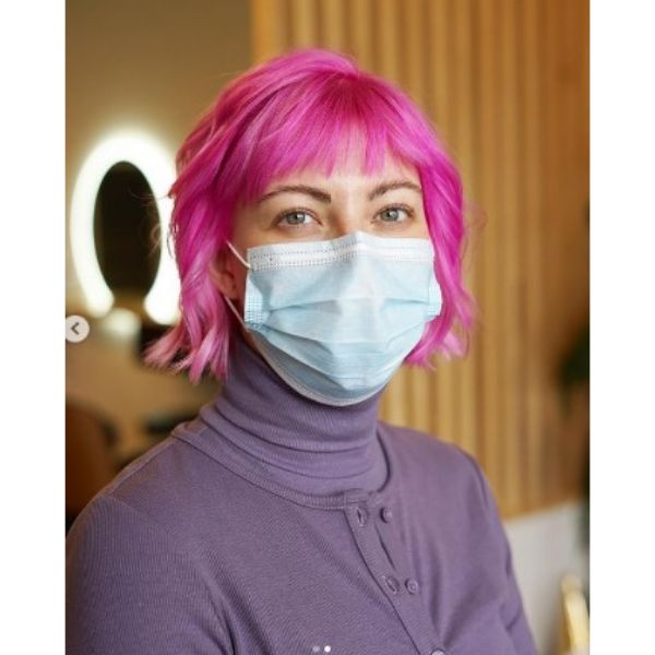 Bright Pink Bob With Soft Waves And Fringe