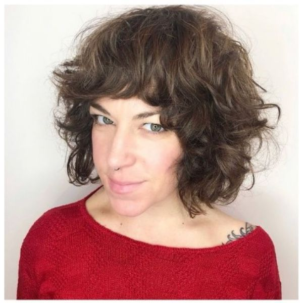 Brown Curly Bob With Heavy Bangs Hair