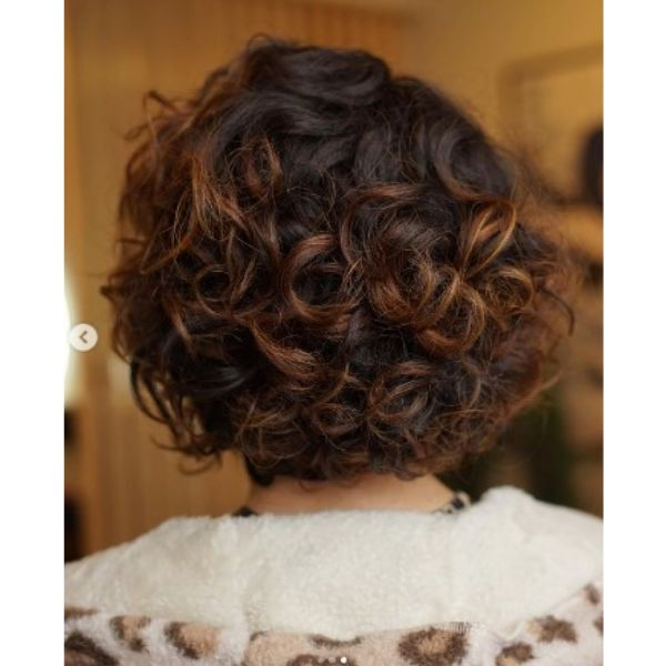 Brown Red Curly Bob With Soft Balayage