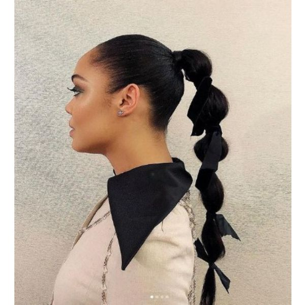 Bubble Ponytail With Black Ribbons And Sleek Top Hairstyles For Black Hair
