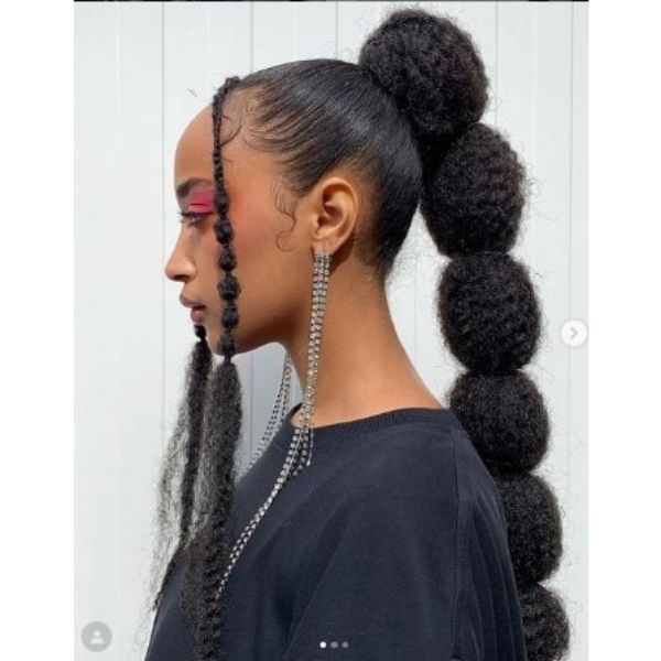 BubbleBraids Ponytail Hairstyles For Black Hair