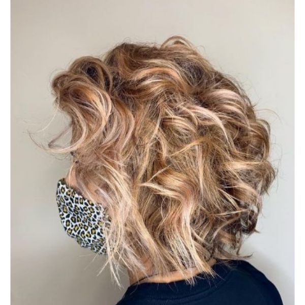 Caramel Blonde Bob With Messy Styling