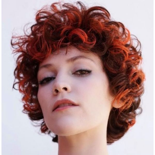 Cinnamon Red Curly Bob With Brown Strands