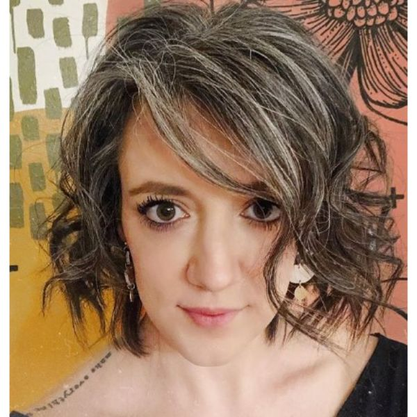 Curly Hairstyle For Natural Grey Hair
