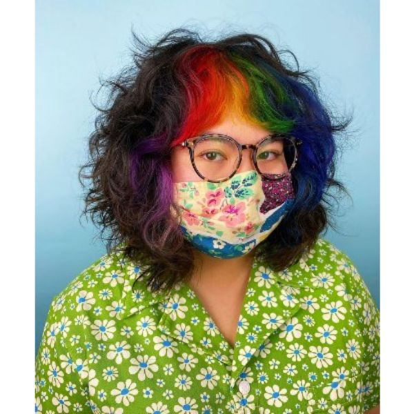 Curly Shaggy Full Bob With Rainbow Colored Bangs