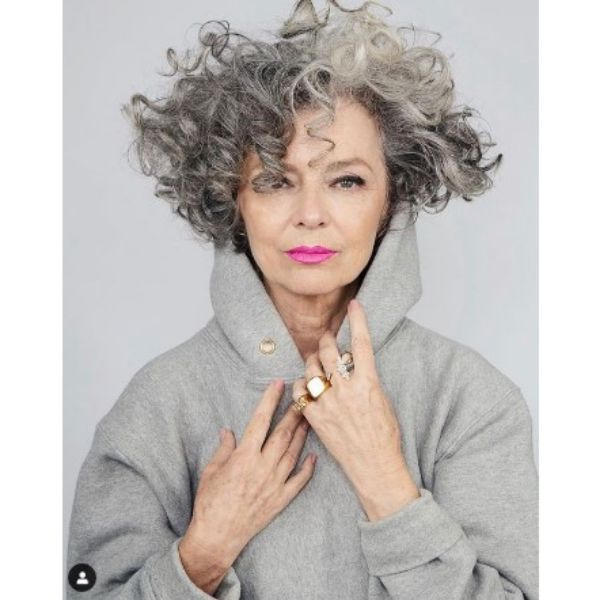 Curly Silver Gray Medium Hairstyle For Older Women