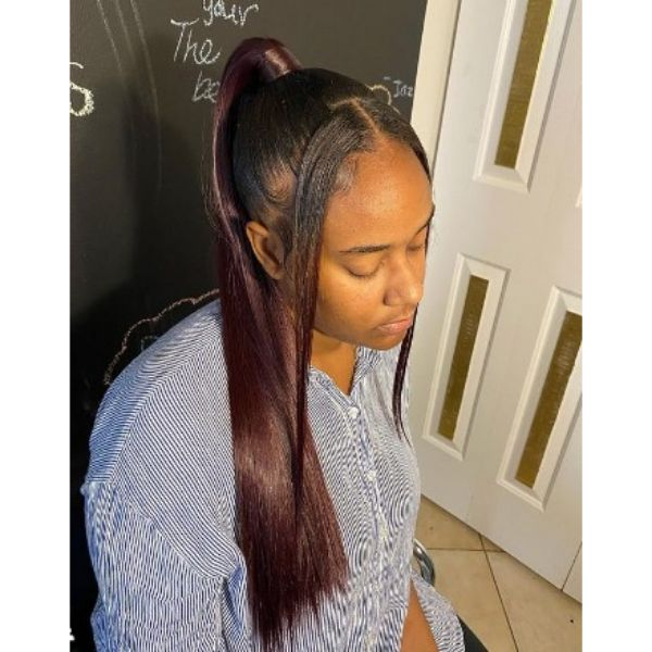 Dark Burgundy With Side Strands Hairstyle For Black Hair