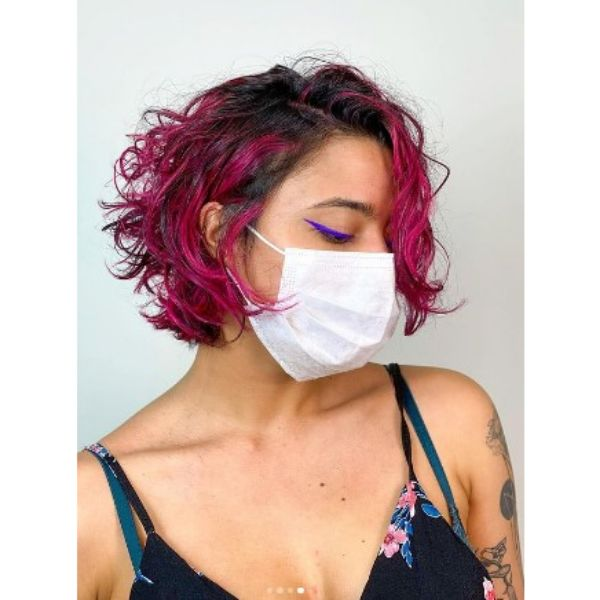 Dark Colored Hair Curly Bob With Magenta Highlights