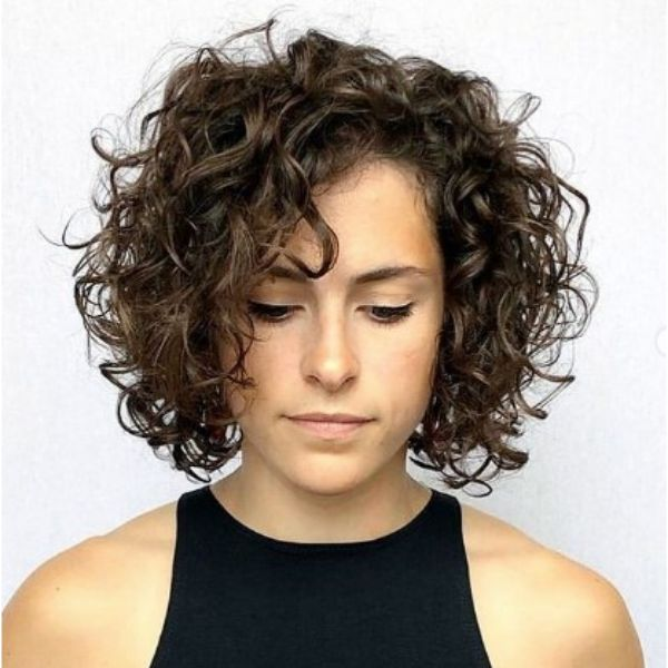 Dark Curly Bob With Side Part