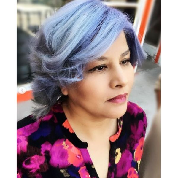 Feathered Purple Iced Hairstyles For Older Women