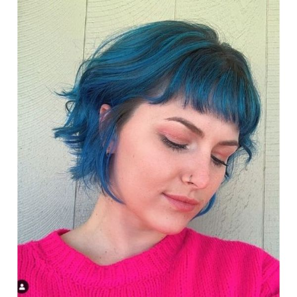 French Curly Bob For Blue Hair With Soft Fringe