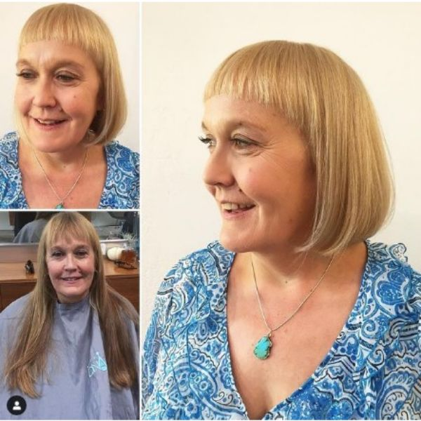 Golden Blonde Straight Bob With Rounded Bangs