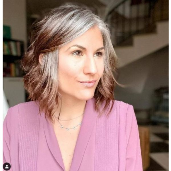 Grey Brown Wavy Medium Hairstyle With Side Part For Older Women